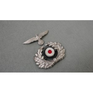 German WH Officer Visor Cap Wreath With Cocade And Eagle-Silver
