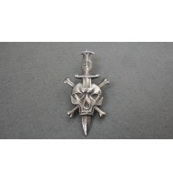 WW2 SS Skull with Cross Bones Dagger Pin Death Biker Badge - Silver
